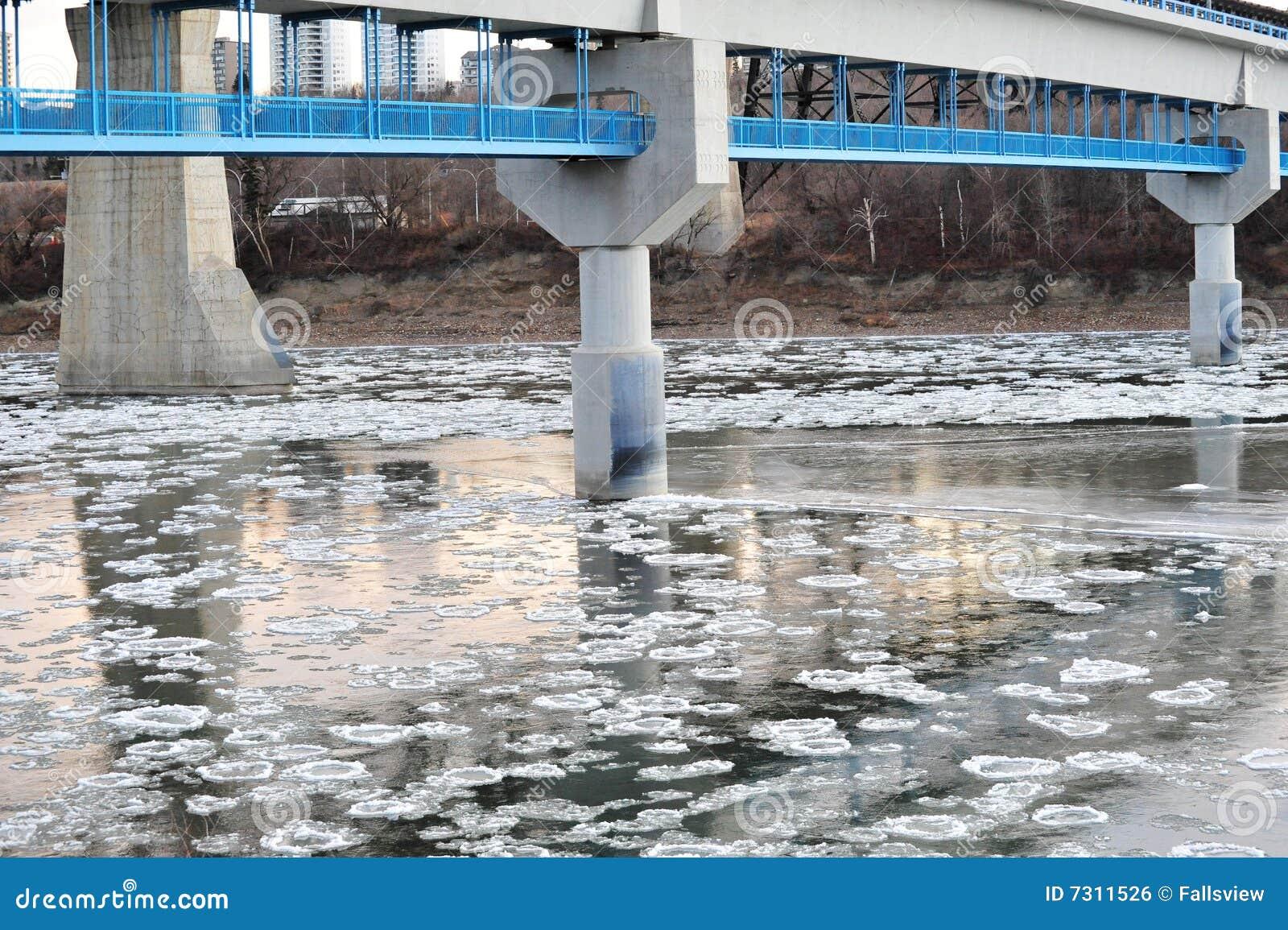 Fiume del ghiaccio di inverno