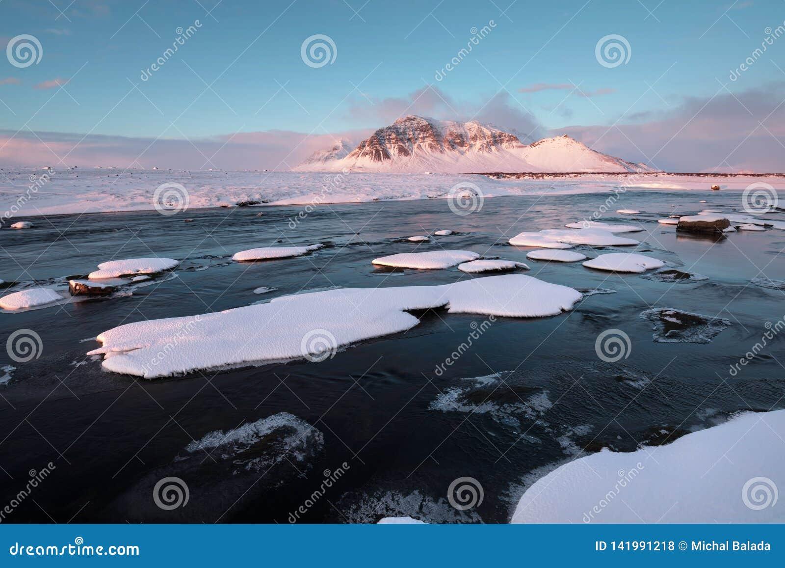 Fiume selvaggio di inverno islandese che entra nel canyon Fiume islandese selvaggio di inverno coperto in neve e ghiaccio Bello g