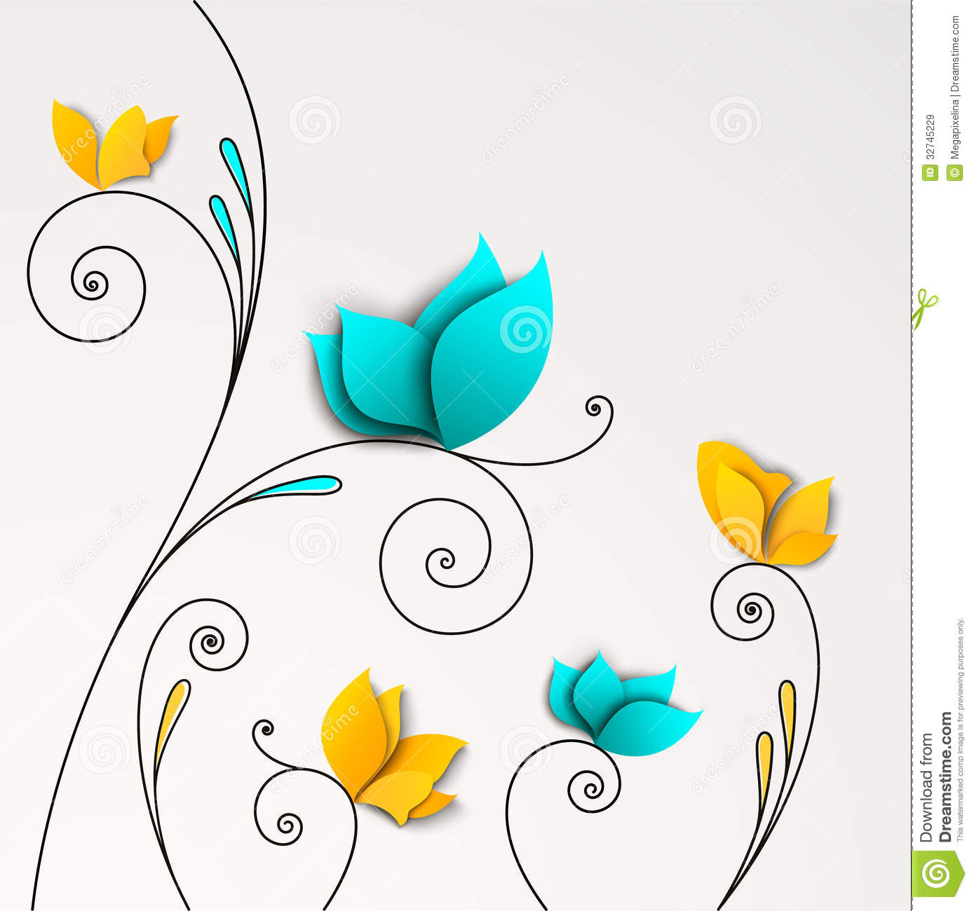 Five Abstract Paper Flowers Royalty Free Stock Images - Image ...