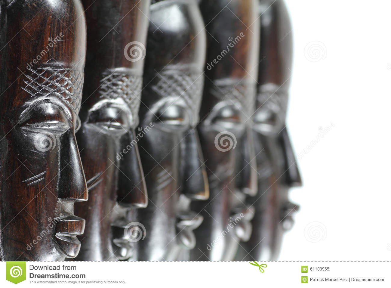 Five African wooden masks