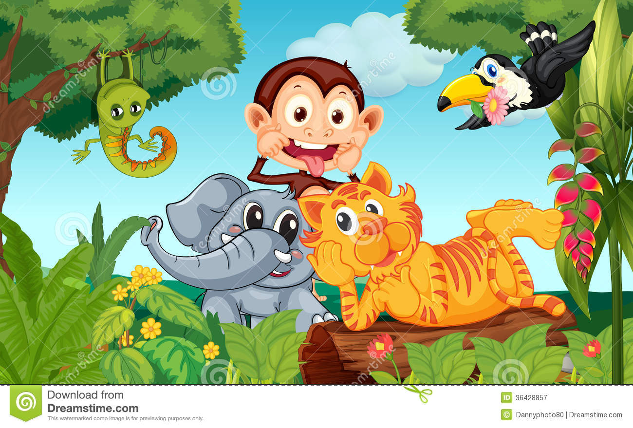 Five animals at the forest stock illustration. Illustration of forest -  36428857