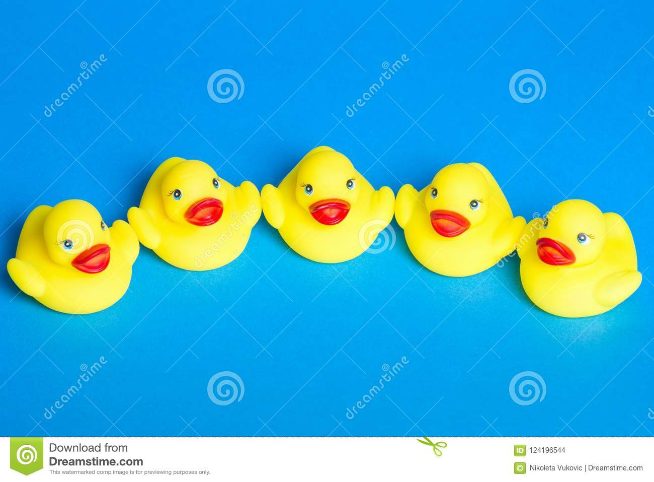 Five bath duck toys stock photo. Image of view, baby - 124196544