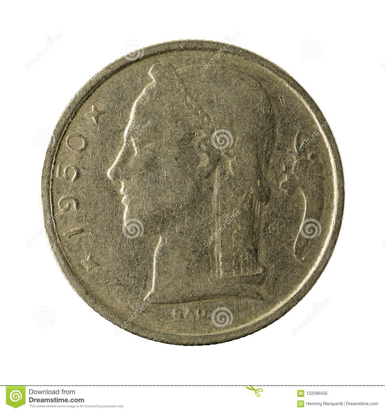 Five belgian franc coin 1950 isolated
