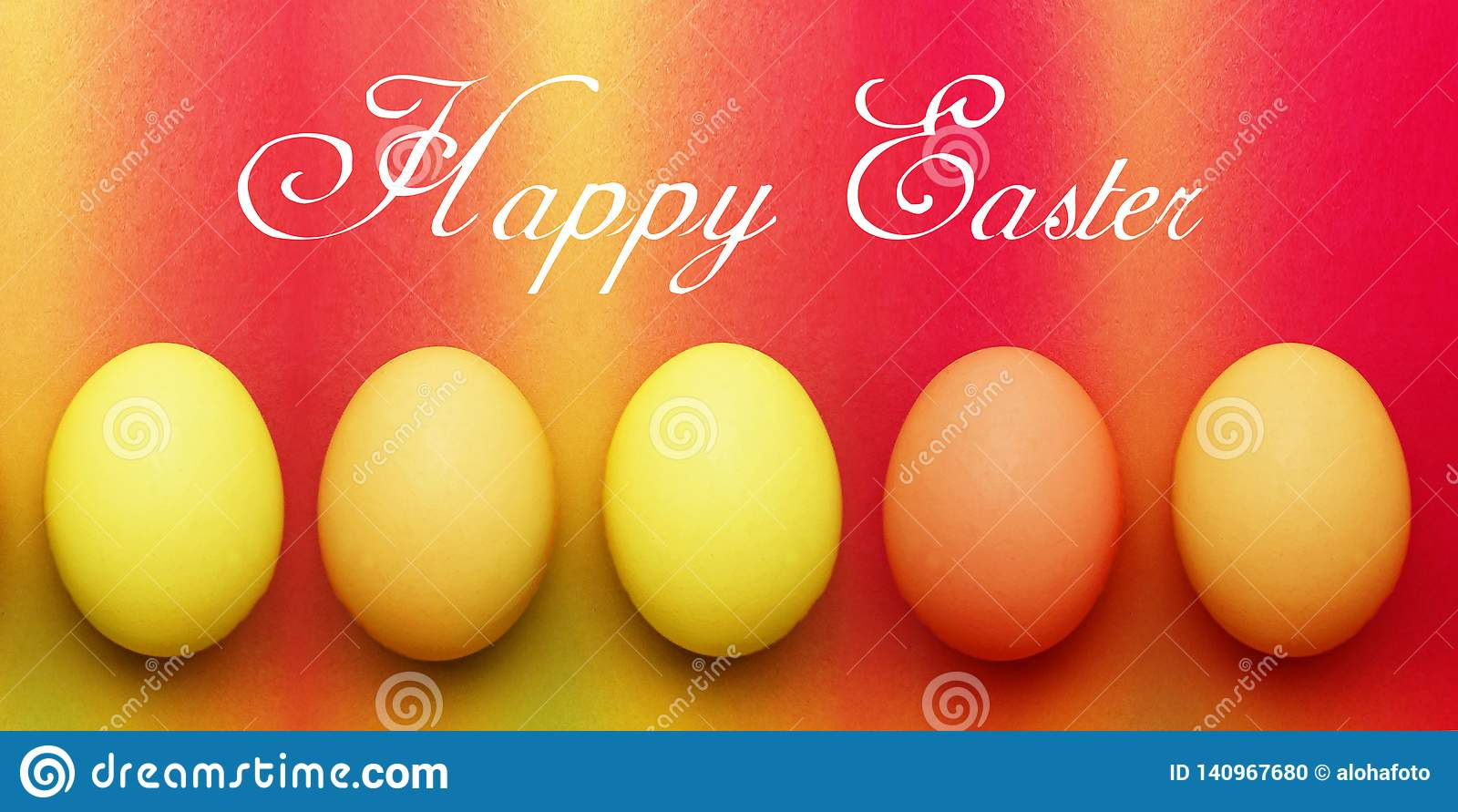 Postcard with five biological organic red orange yellow easter eggs on a rainbow background
