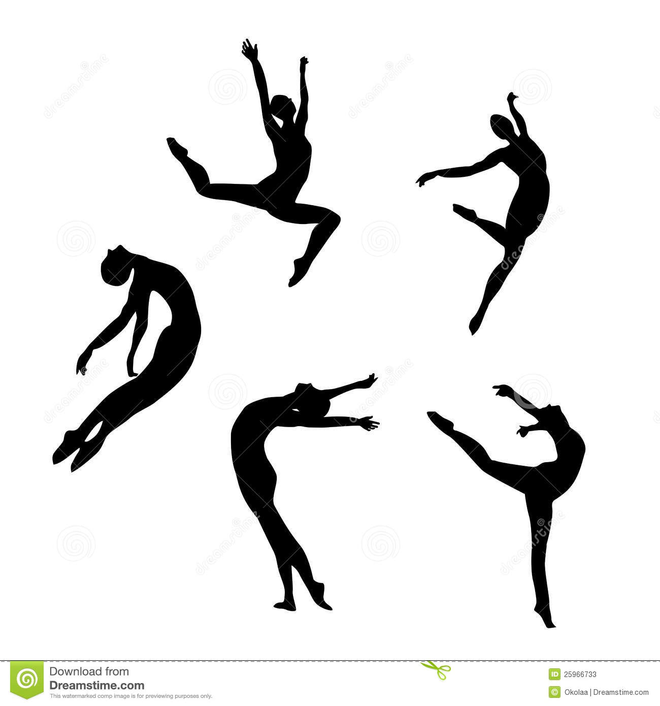 five black silhouettes dancingjumping stock photos