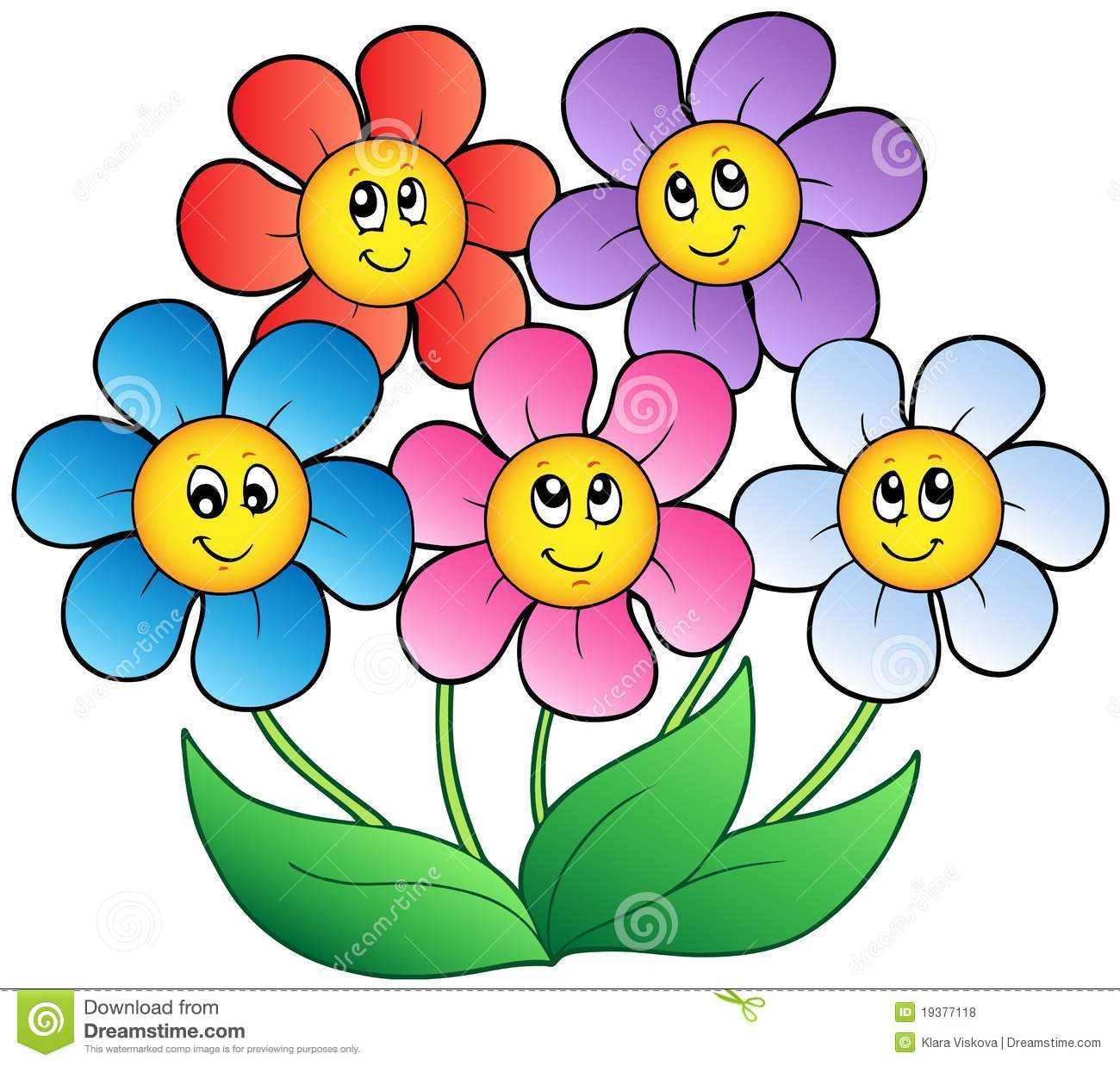 Five Cartoon Flowers Stock Vector Illustration Of Five 19377118