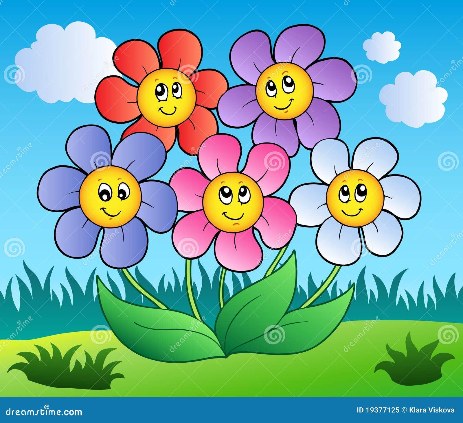 Five Cartoon Flowers On Meadow Royalty Free Stock Photo