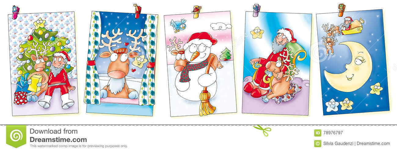 Five Christmas Cards Hanging With Clothespins Moose, Santa Claus ...