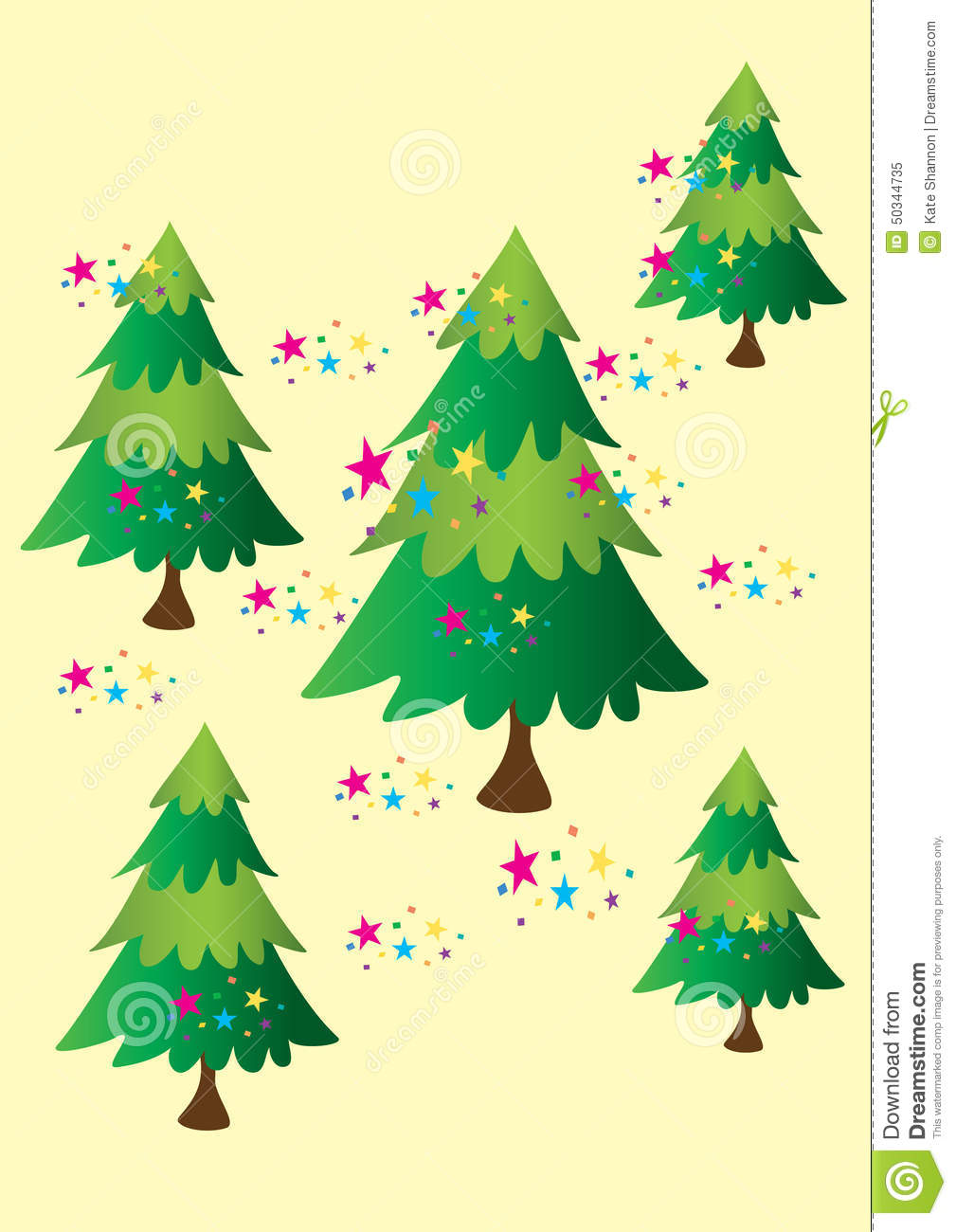 Five Christmas Trees stock vector. Illustration of forest - 50344735