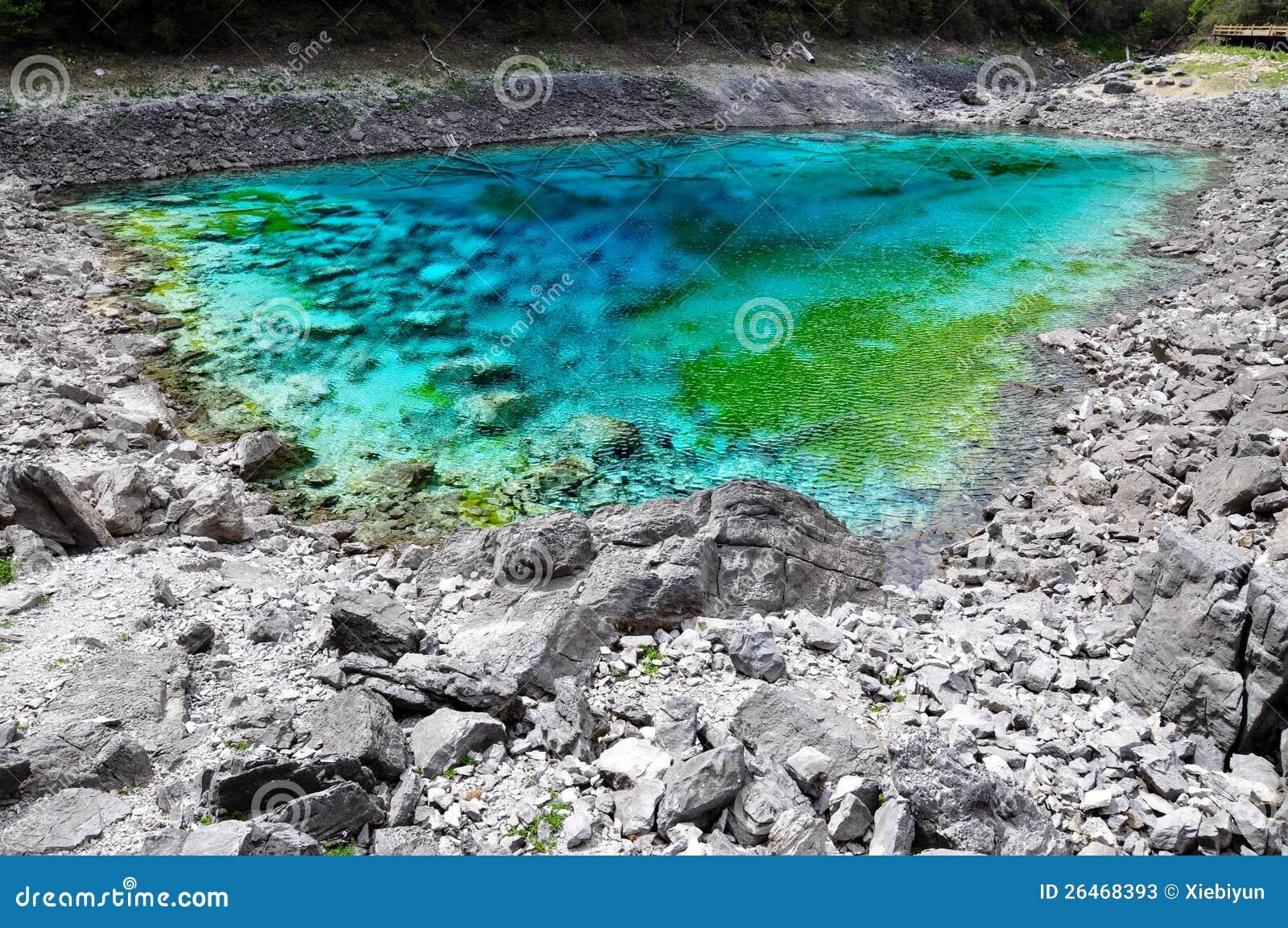 five color pond at jiuzhaigou sichuan china stock On color pond