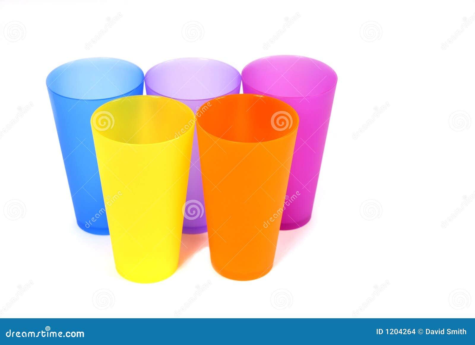 Five colorful glasses
