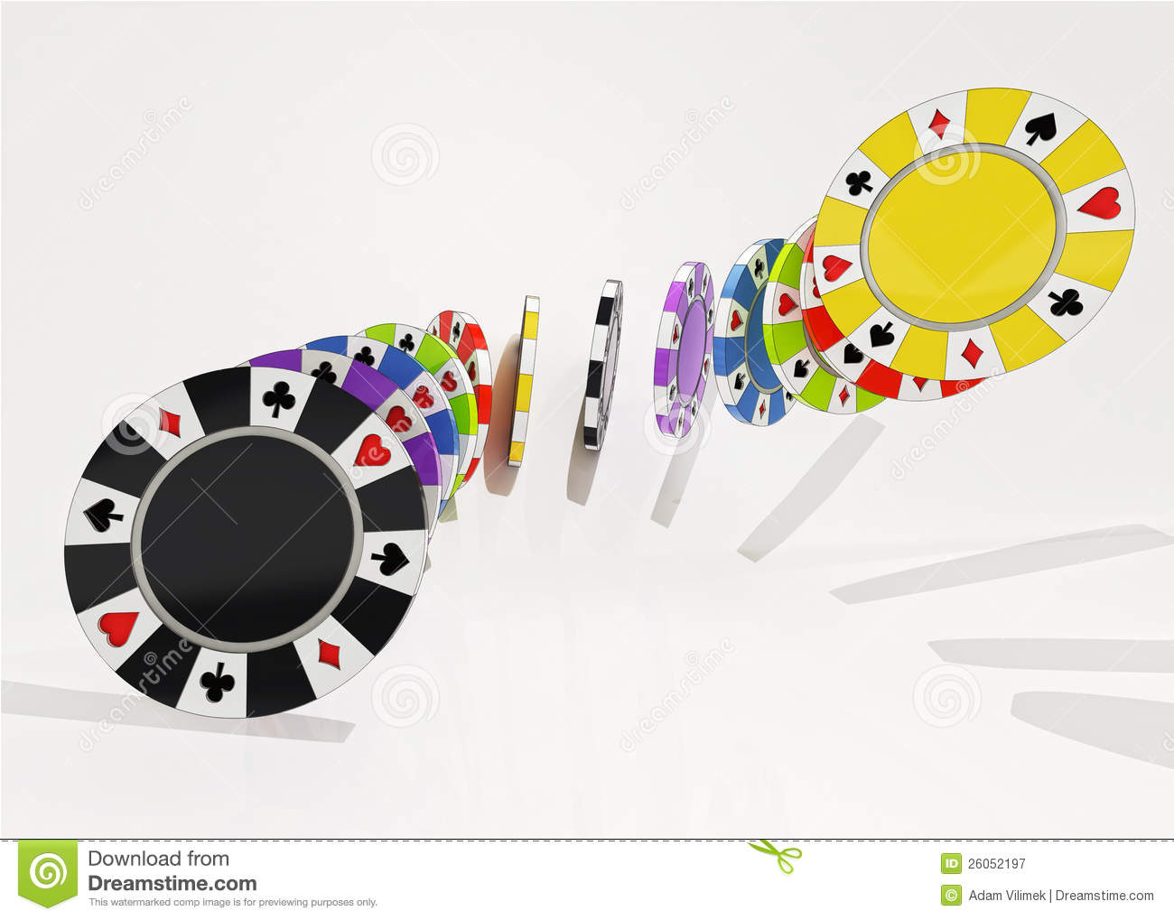 Different types of poker chips