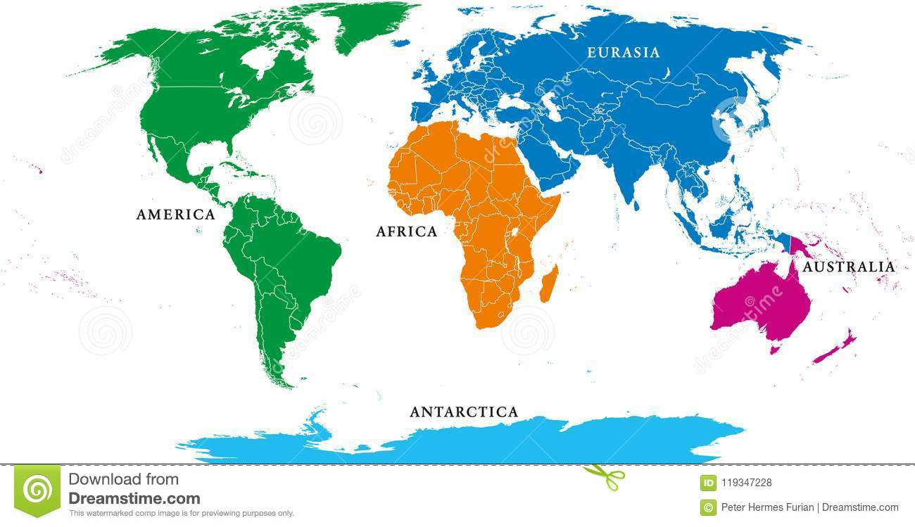 Five Continents, Political World Map, With Borders Stock ...