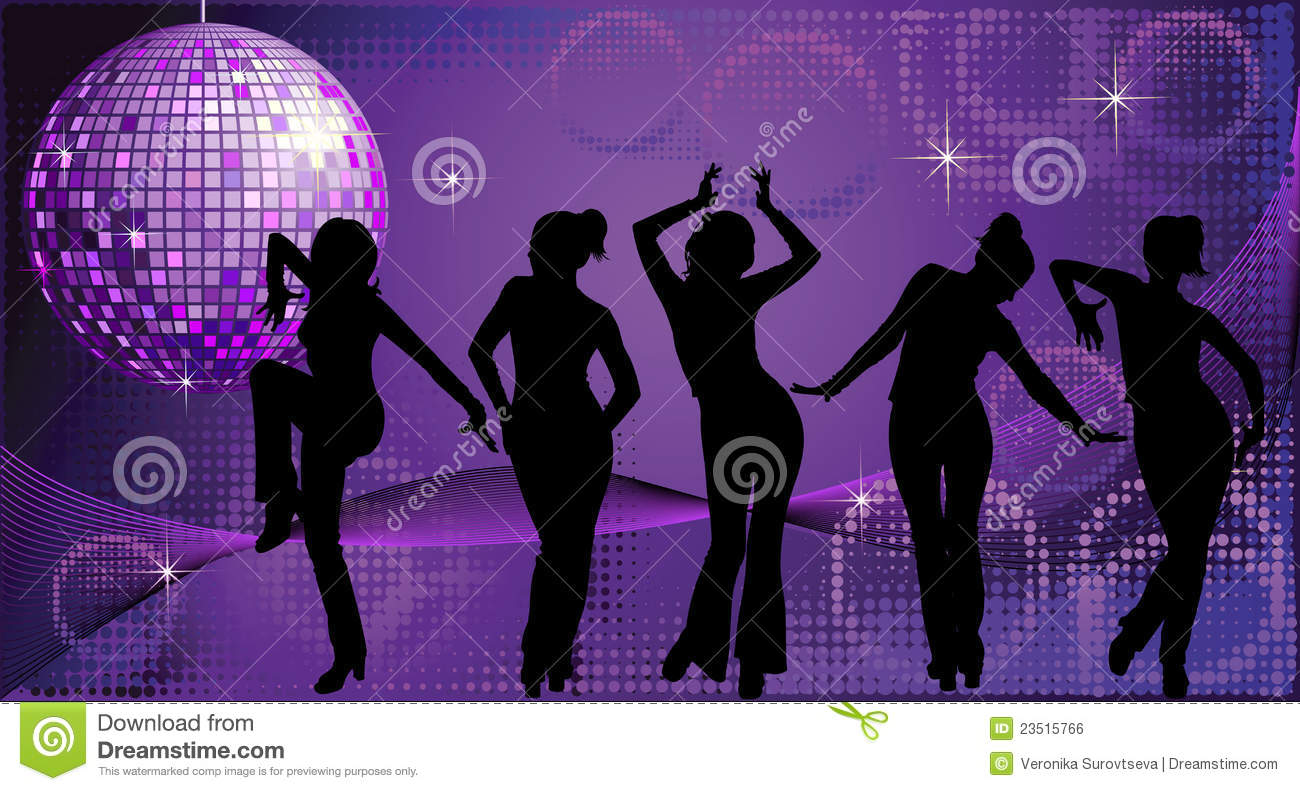 Five dancing women silhouettes on disco background
