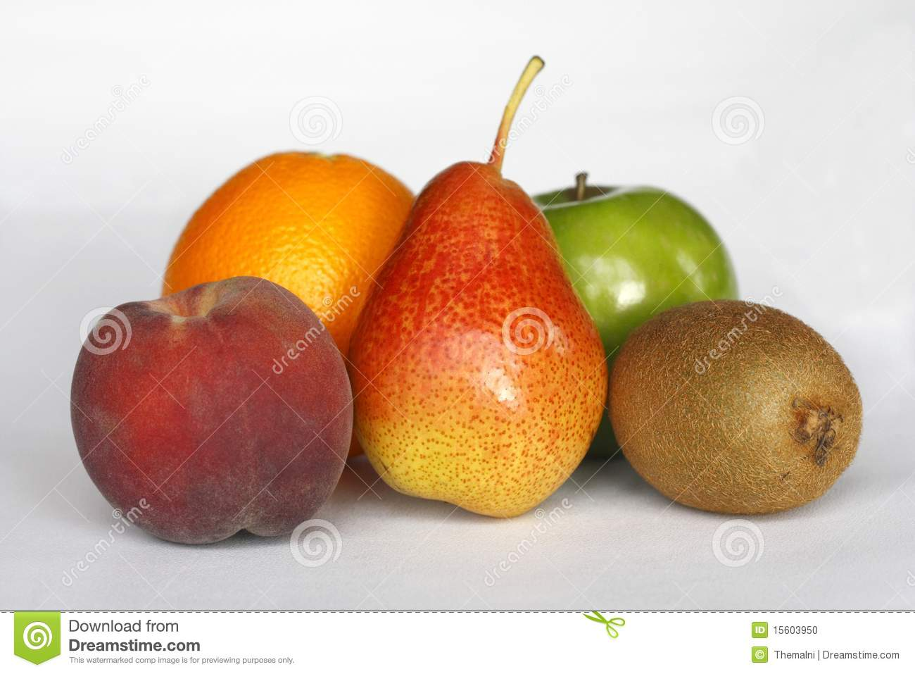 Five fresh organic fruits: green apple, orange, pear, peach, kiwi, as ...