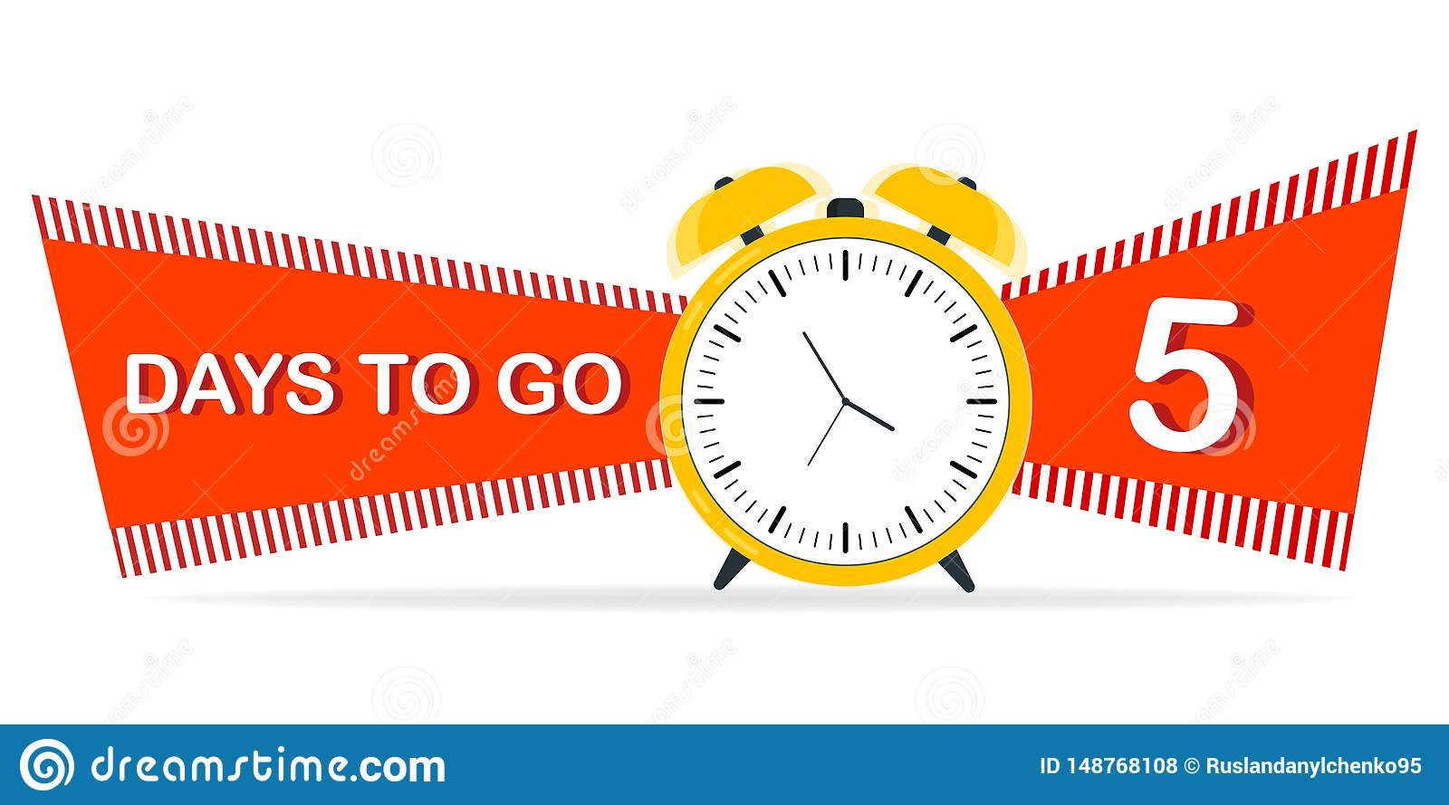 Five days before the start. Yellow yellow alarm clock with flat ribbons, best character suggestions. Vector illustration