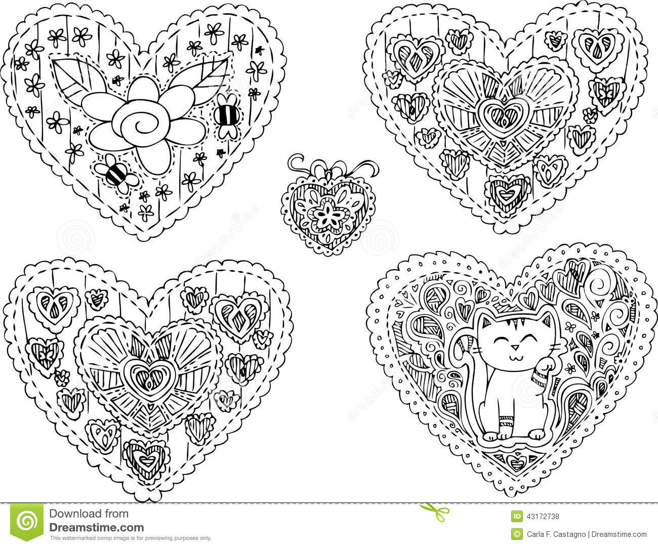 Five Decorated Heart Shapes Vector Stock Vector Image