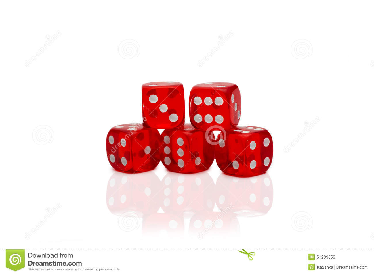 Five dices isolated on white