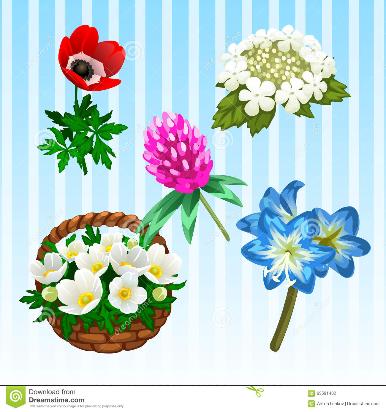 Five Different Flower Types Single And Bouquet Stock Vector