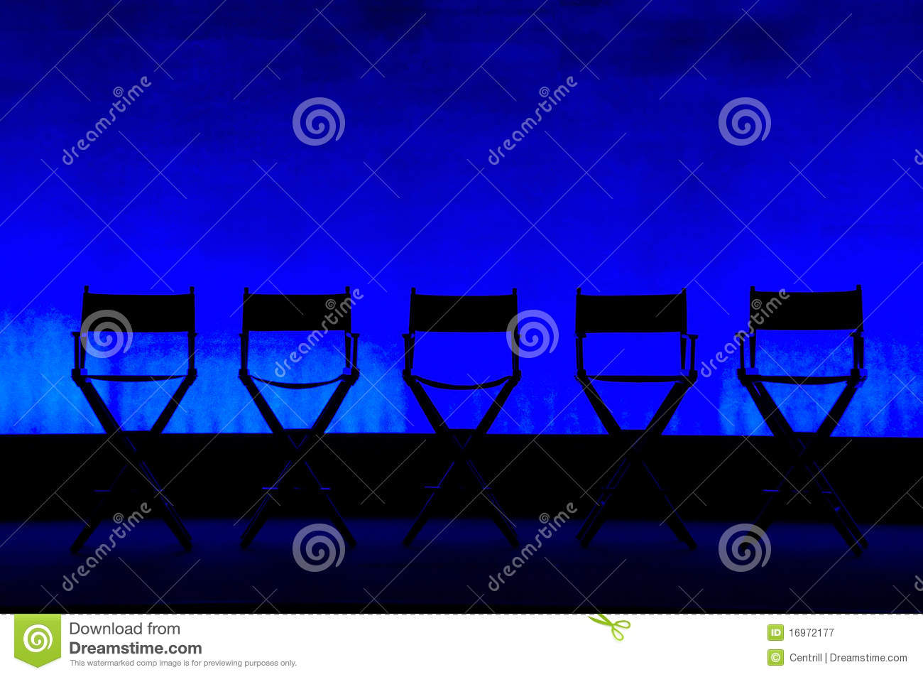 Five Director S Chairs Silhouette On Blue Stage Stock