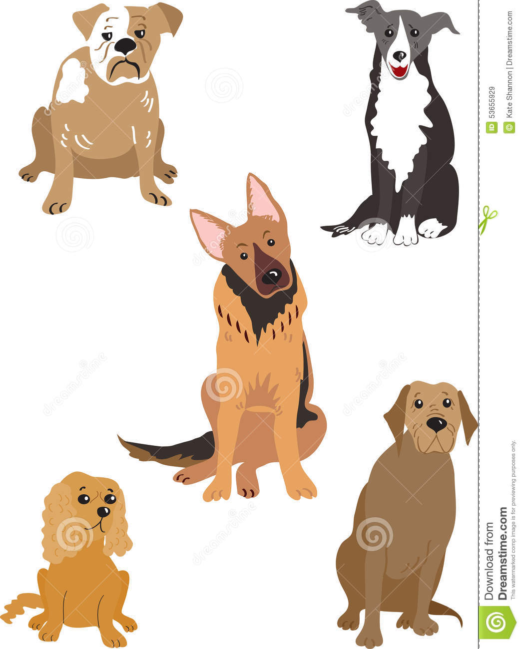 five dogs stock vector image 53655929 border collie dog clipart border collie puppy clipart