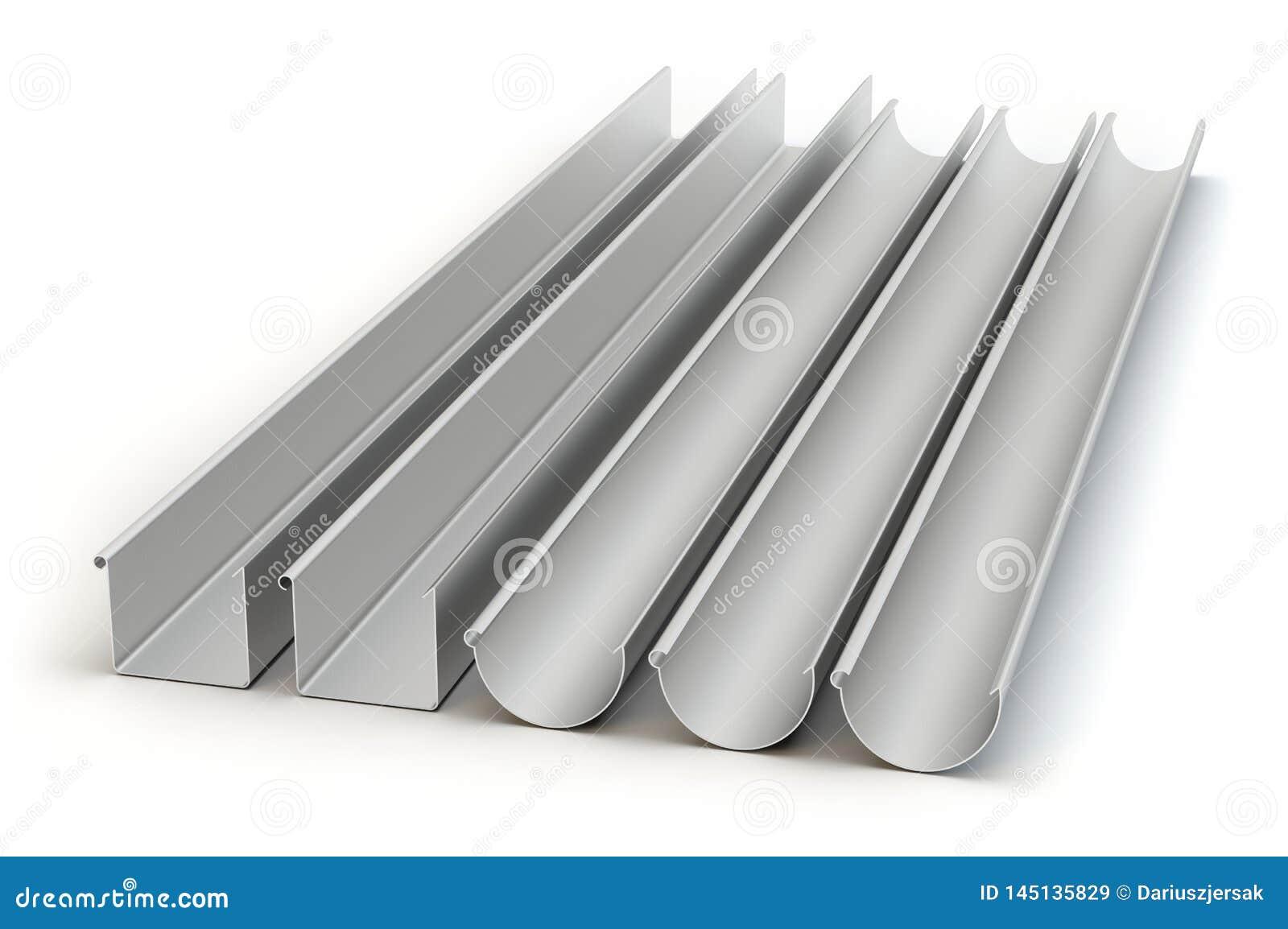 Five drainage gutters, 3D illustration