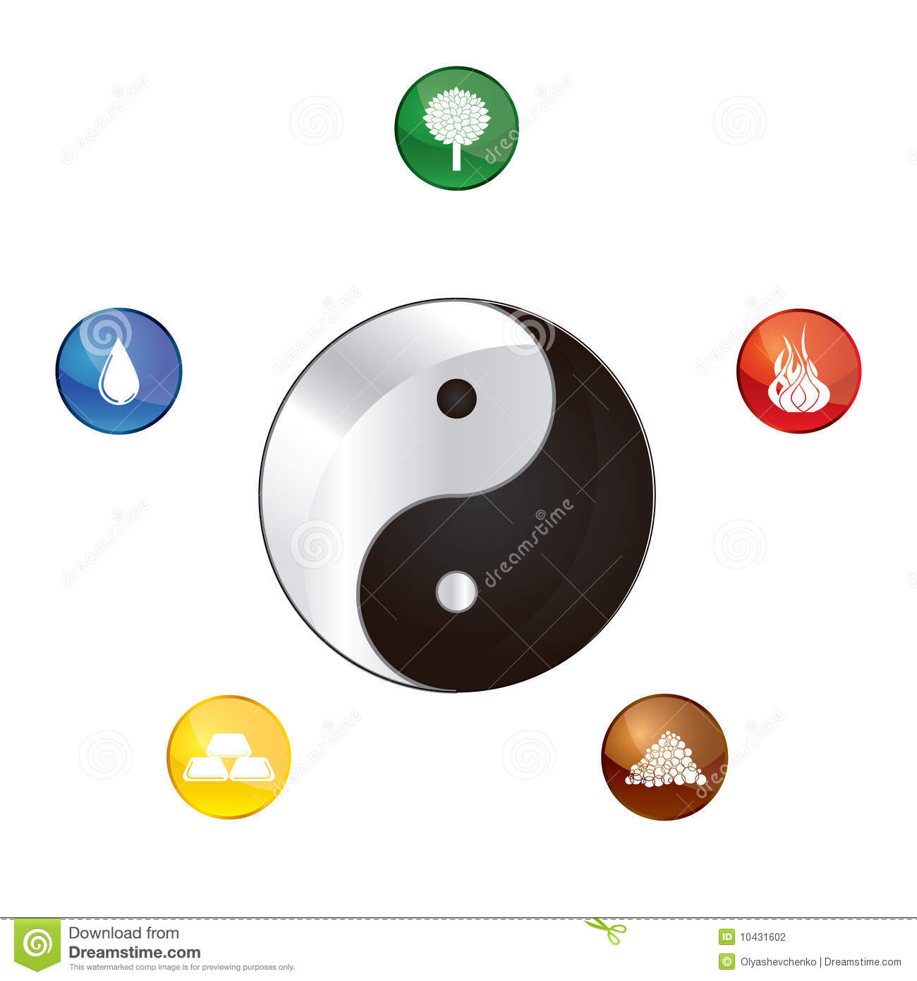 five elements of life stock vector illustration of energy Yin Yang Logo Cool Vector