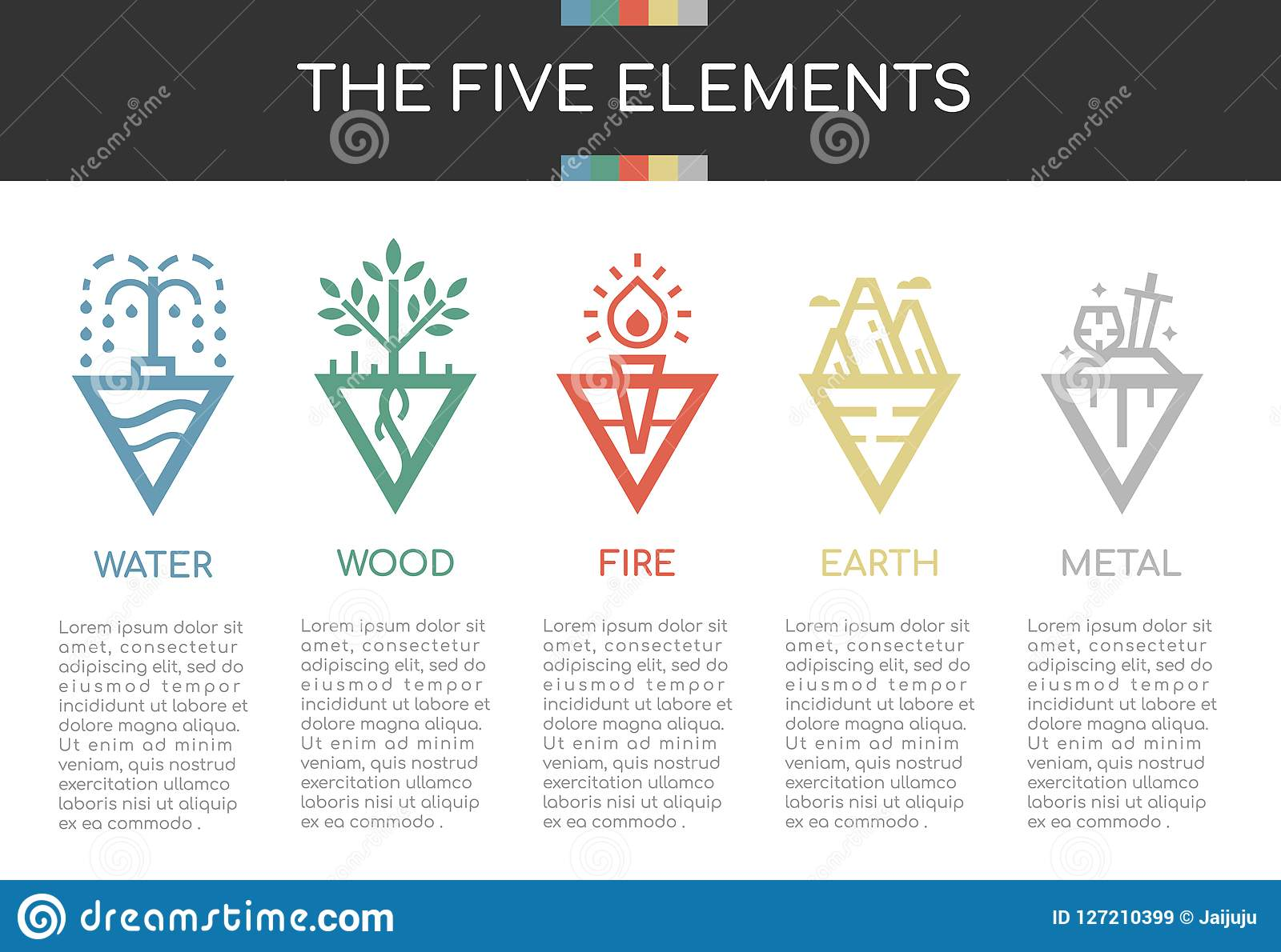 The five elements of nature with line border abstract triangle style icon sign. Water, Wood, Fire, Earth and Metal. vector design