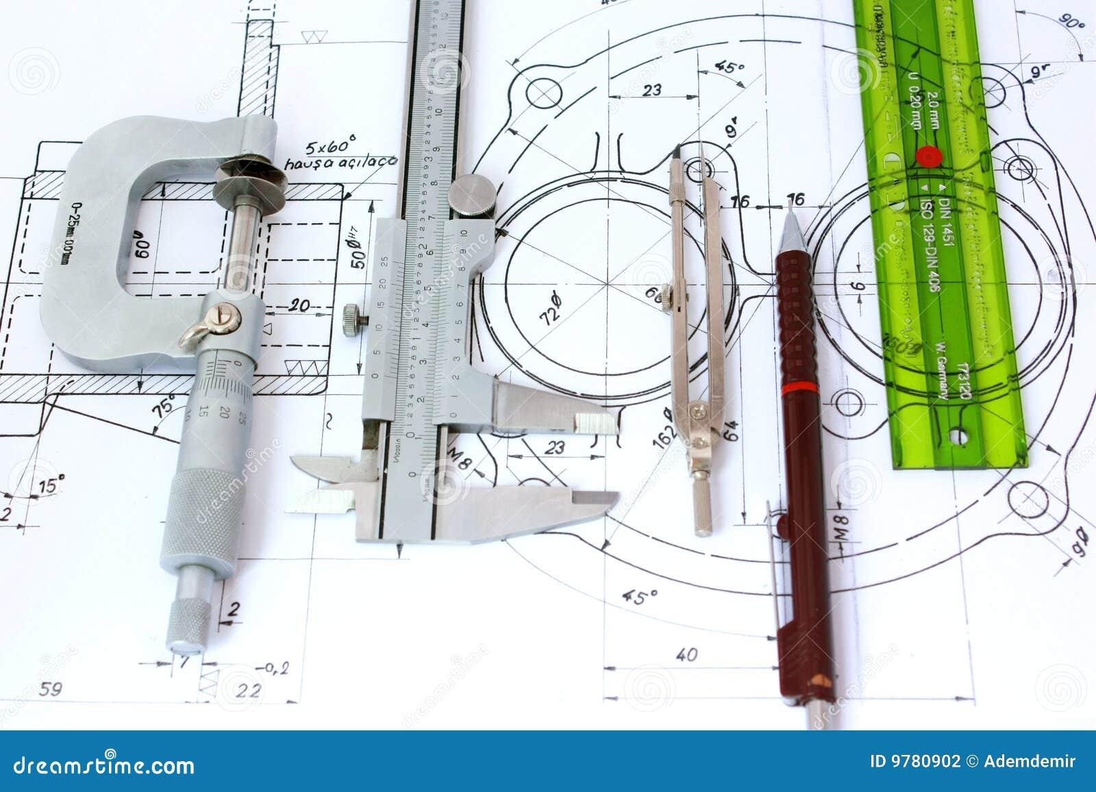 Mechanical Engineering Tools : Five engineering tools on blueprint stock photography