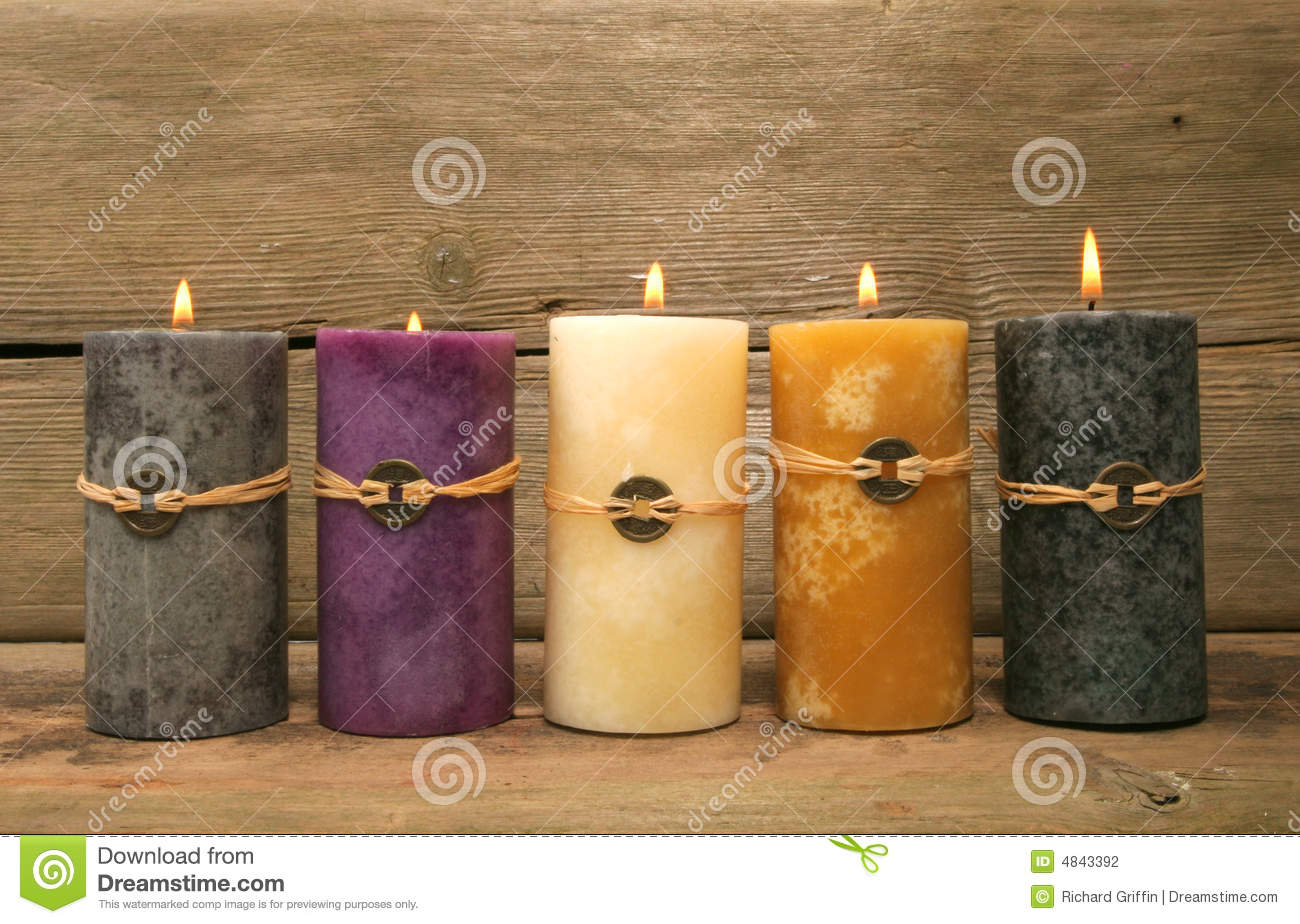 Five feng Shui candles