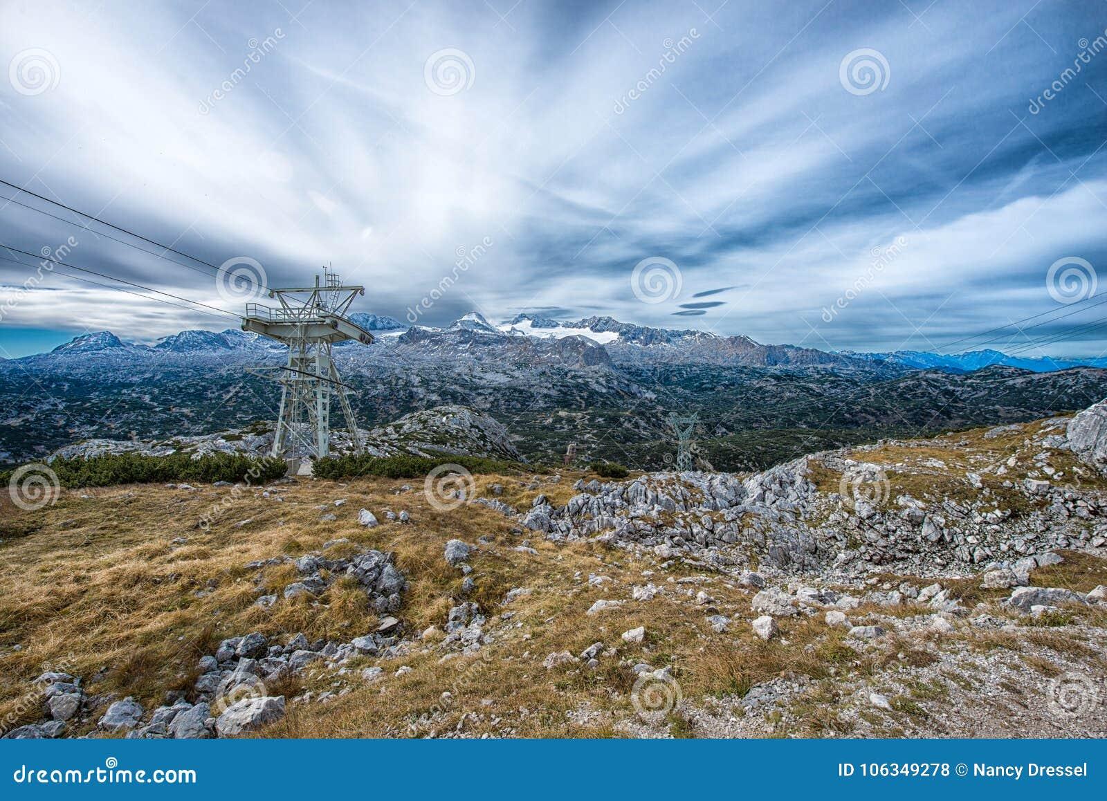 peak view to the spectacular Dachstein glacier in the Alps, Austria,