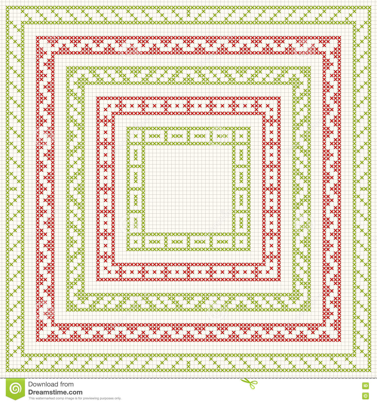 Five Frames For Christmas Cross-stitch Embroidery Stock Image ...