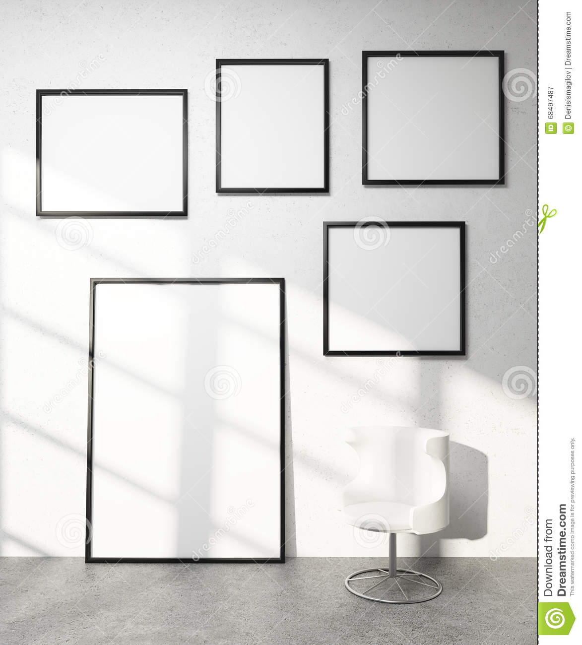 Frames On Wall five frames on wall stock illustration - image: 68497487