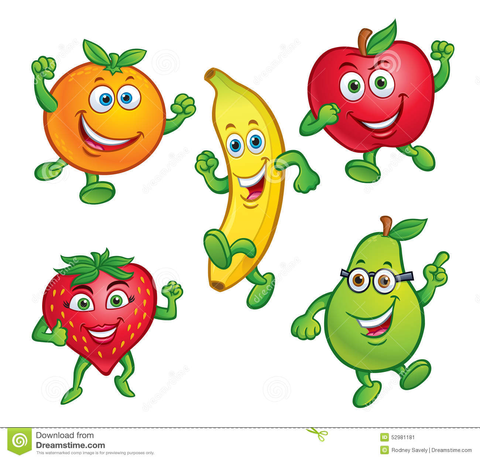 Five Fun Cartoon Fruit Characters Stock Illustration ...