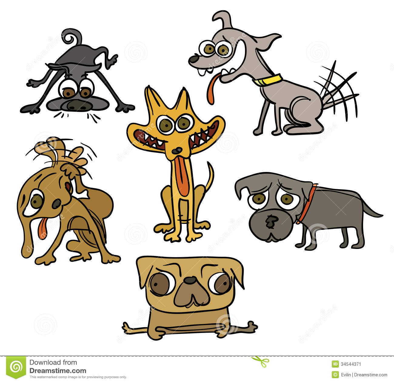 Five funny dogs stock image image 34544371 for Funny simple drawings