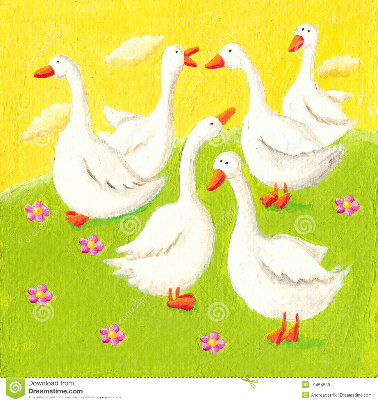 Five funny geese