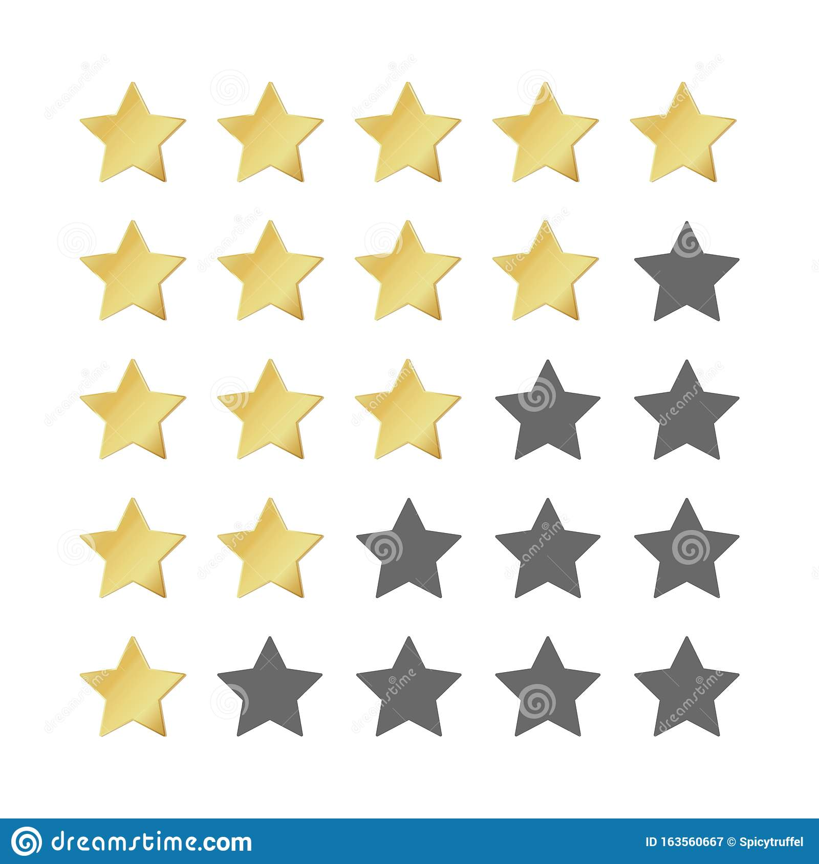 Five Gold Stars Rating. 5 Star Realistic Leadership Symbol