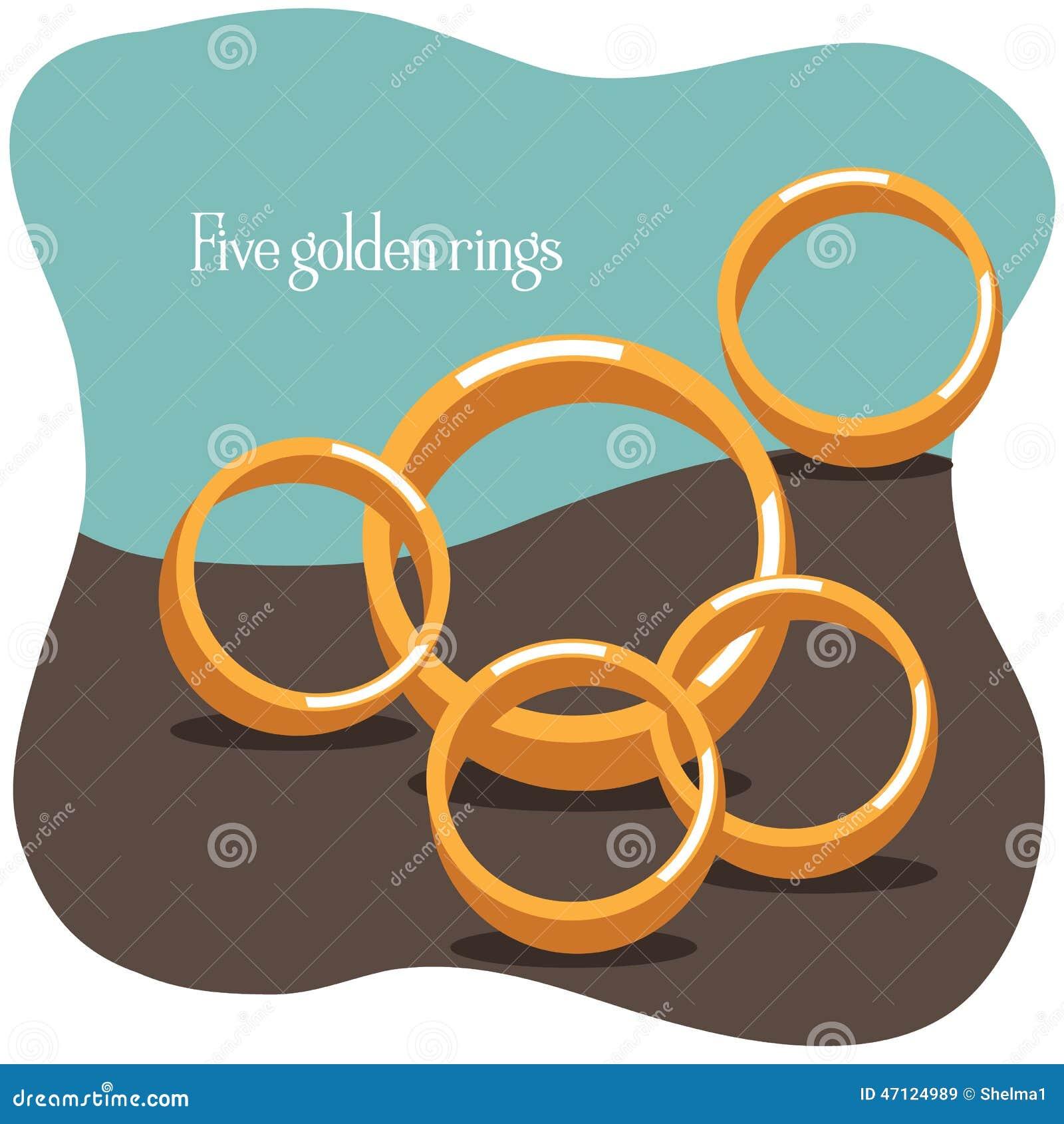 869ac06f Five Golden Rings - Twelve Days Of Christmas Stock Vector ...