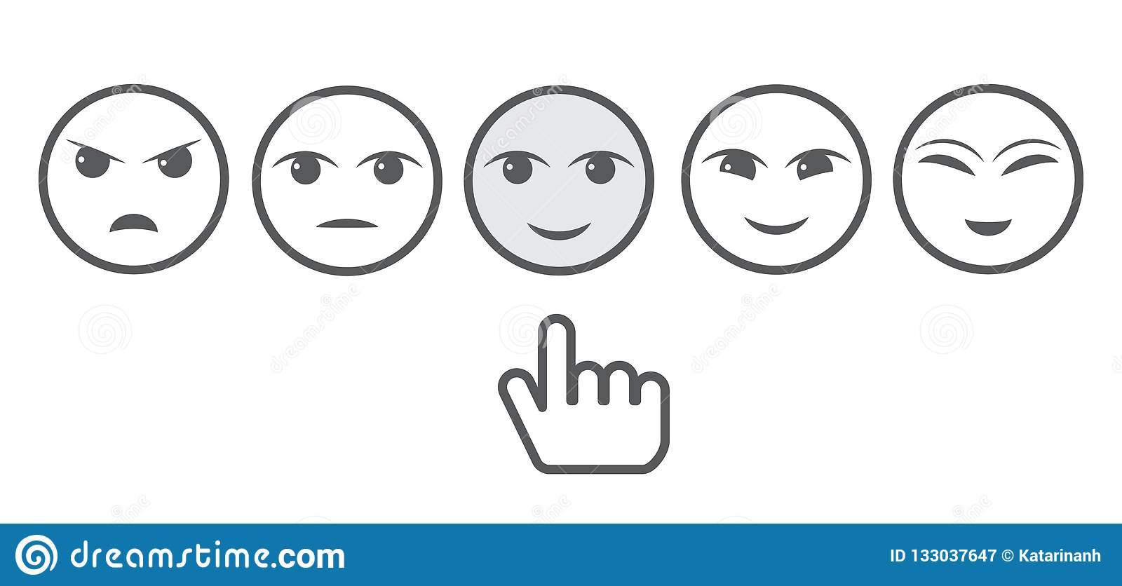 Five Gray Faces Feedback/Mood and hand. Iconic illustration of satisfaction level. Range to assess the emotions of your content.
