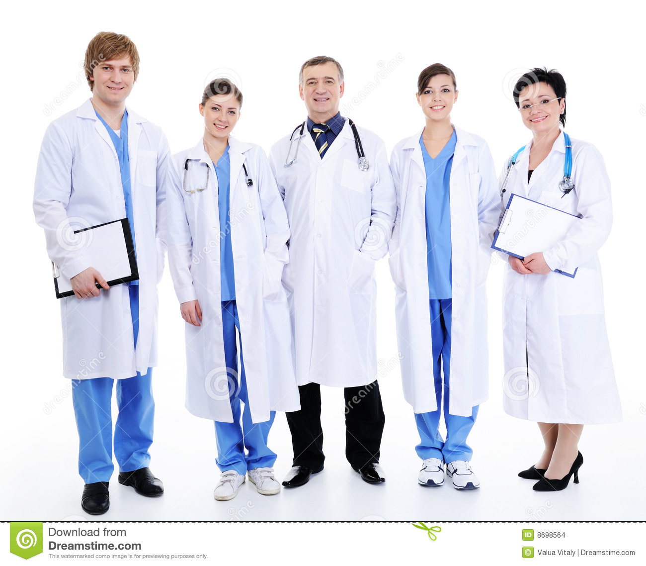 Five Happy Laughing Doctors In Hospital Gown Stock Photo