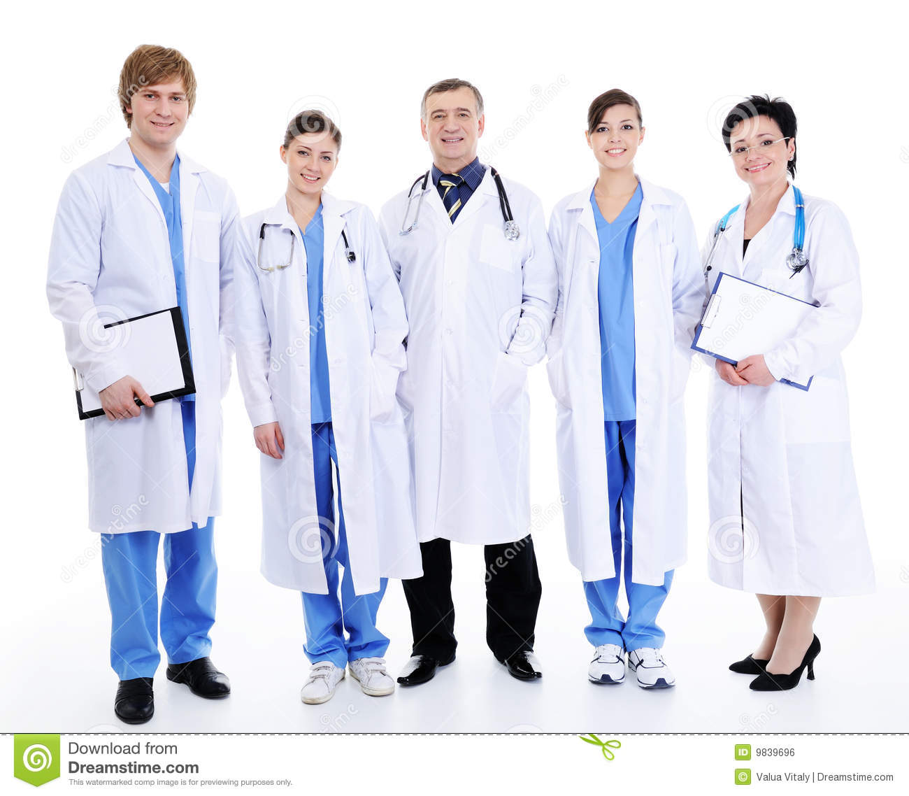 Five Happy Laughing Doctors In Hospital Gown Stock Photo - Image of ...
