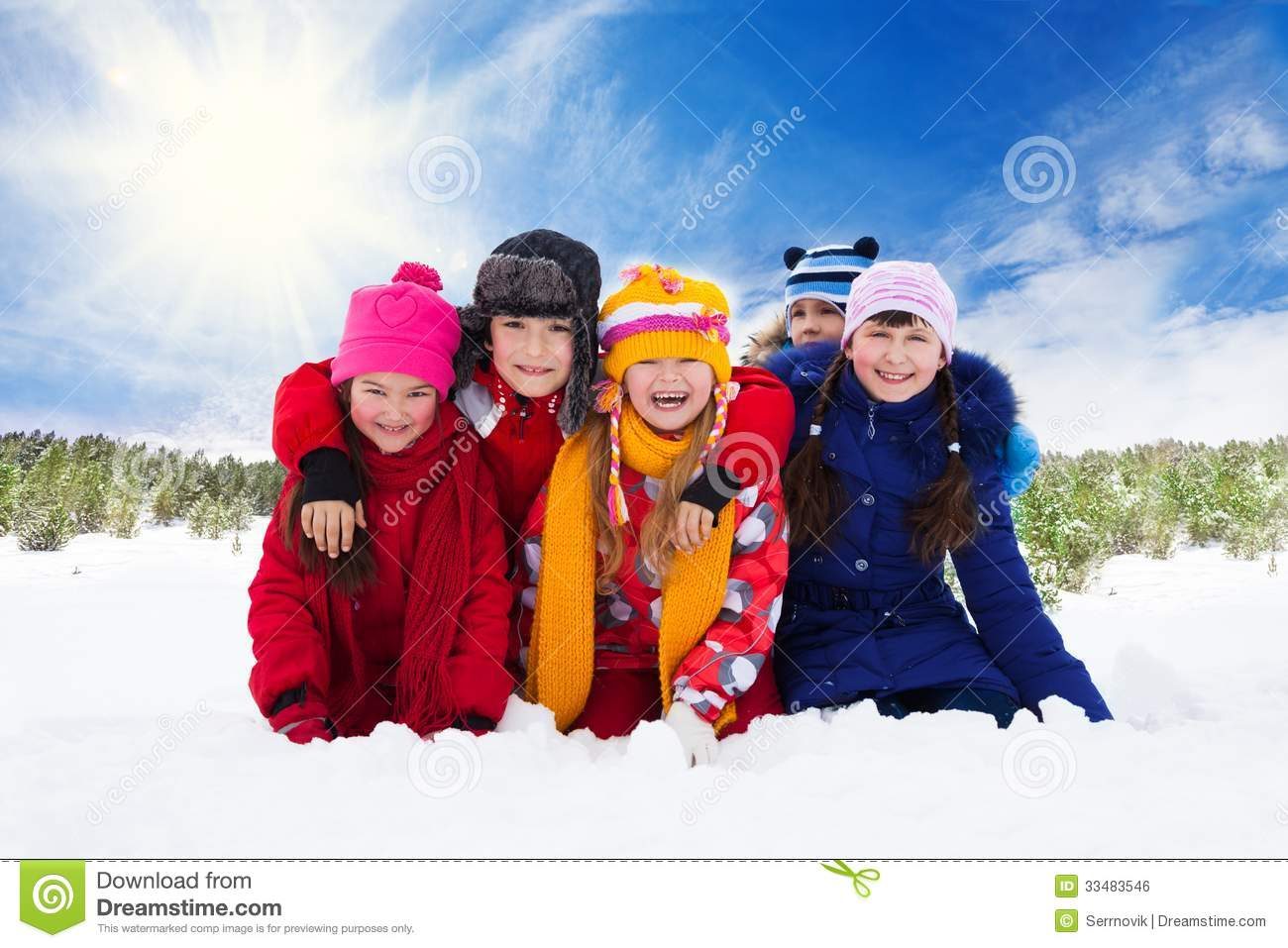 five happy laughing kids  winter royalty free stock image