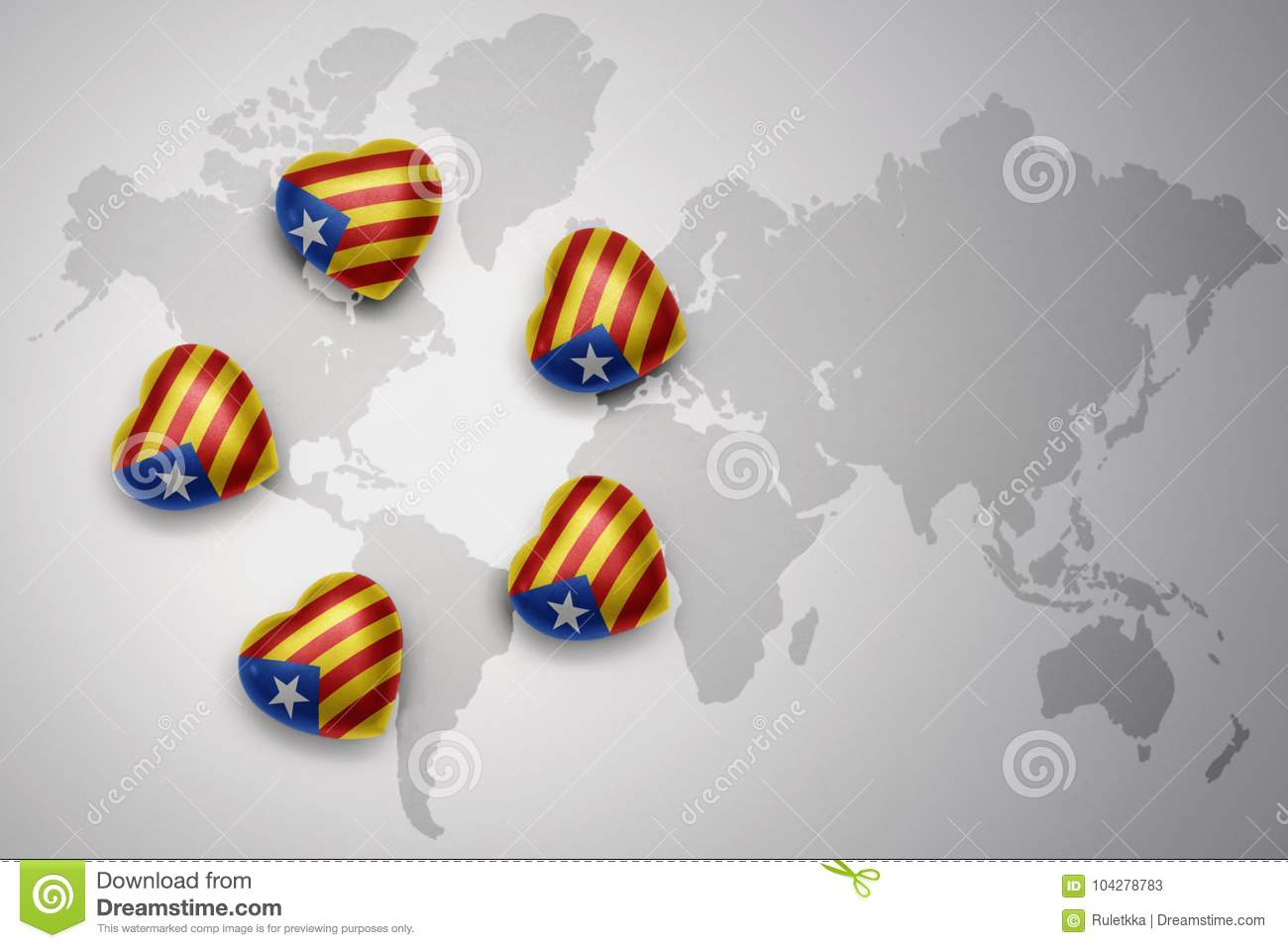 five hearts with national flag of catalonia on a world map background.