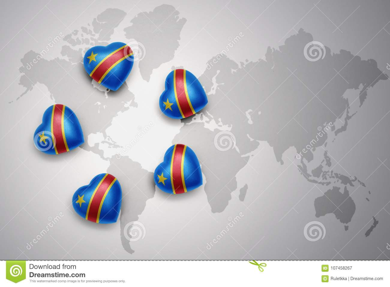Five Hearts With National Flag Of Democratic Republic Of The Congo