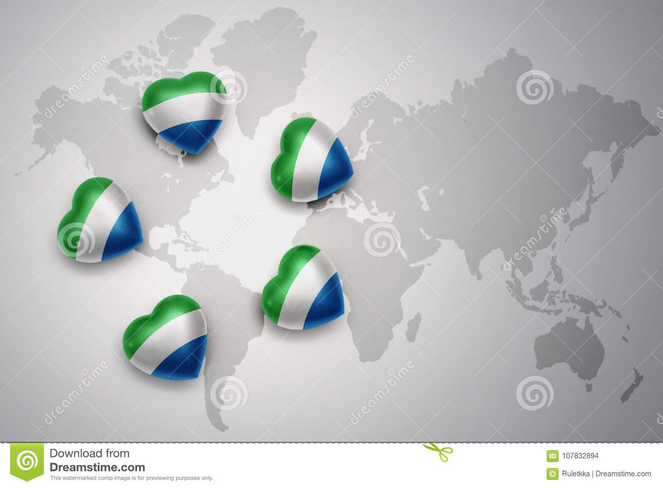 Five Hearts With National Flag Of Sierra Leone On A World Map