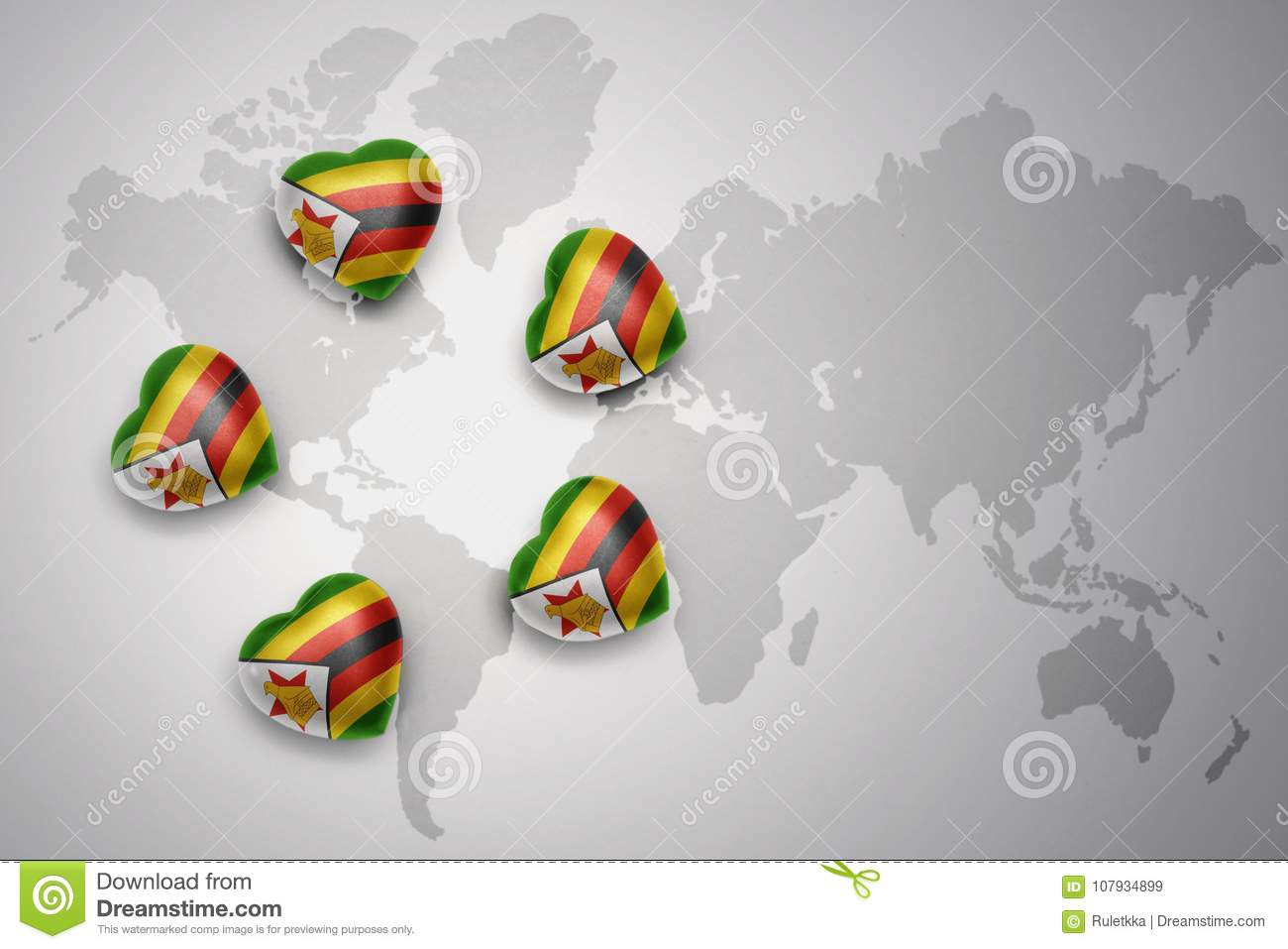 Five Hearts With National Flag Of Zimbabwe On A World Map ...