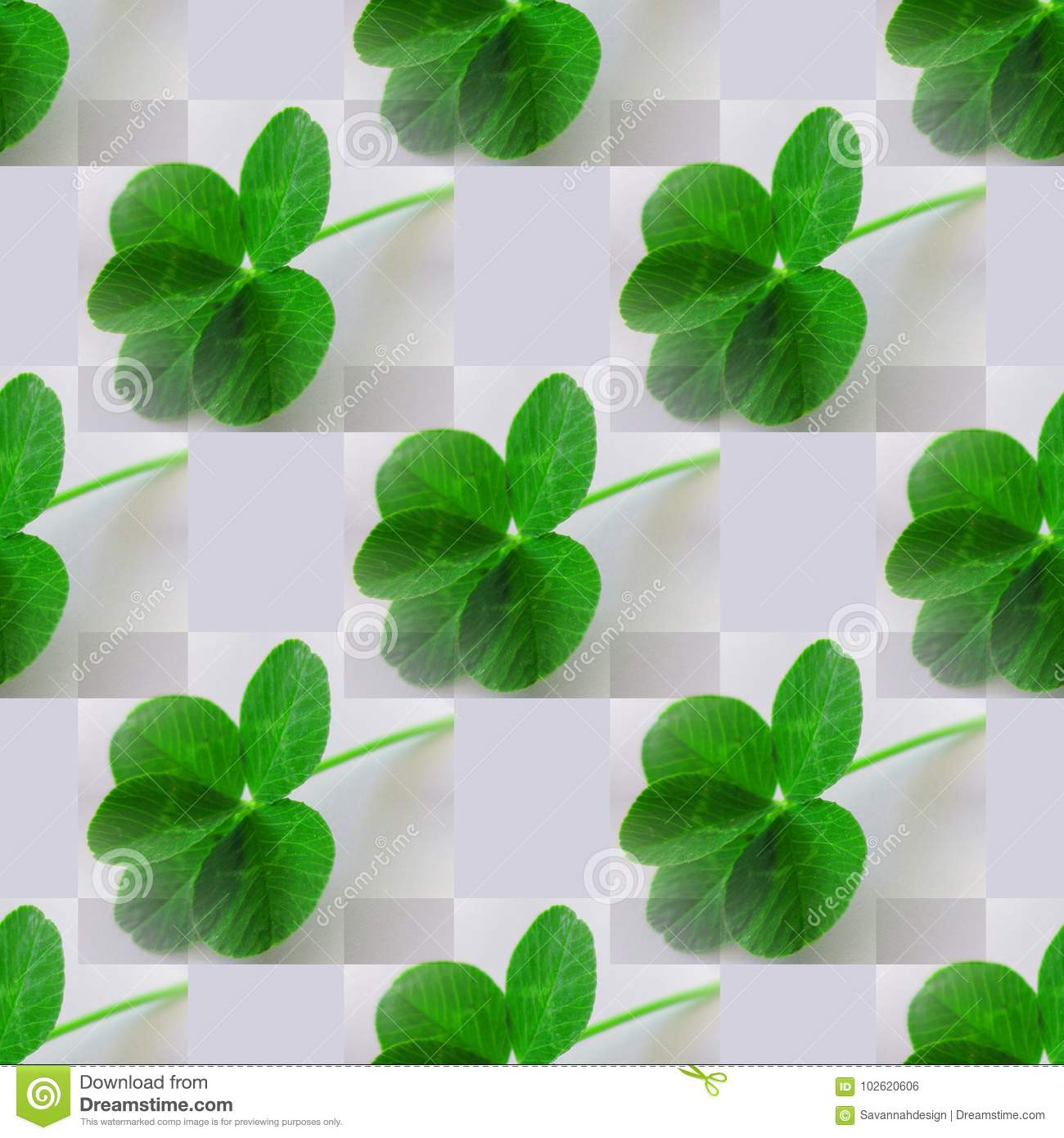 Five Leaf Clover Photo Green On Light Gray