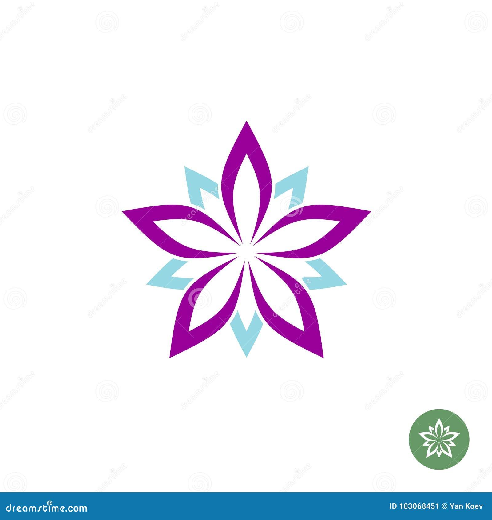Five Leaves Lotus Flower Logo Template Stock Vector Illustration