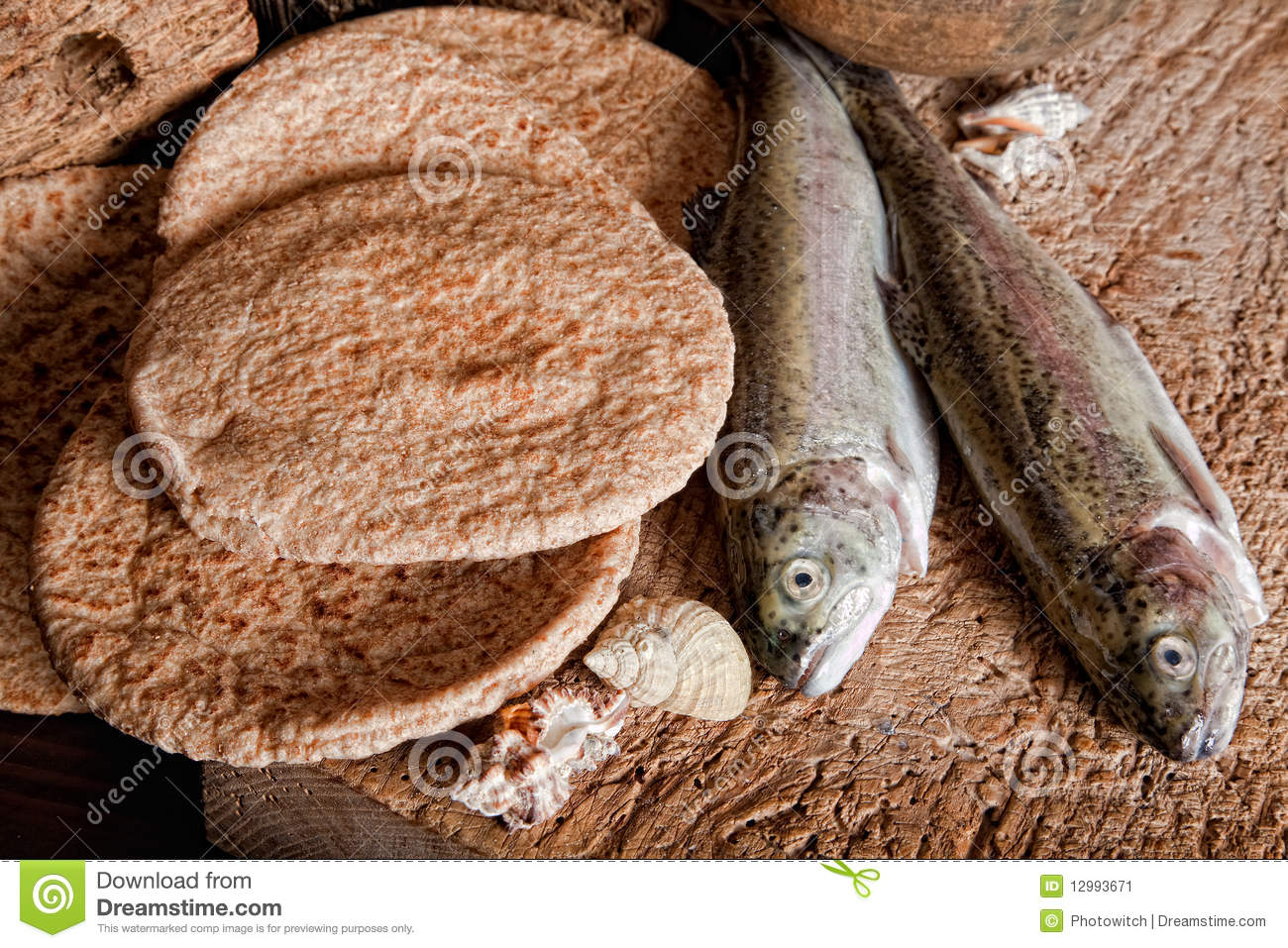 Five loaves of bread and two fish stock image image of for Loaves and fish