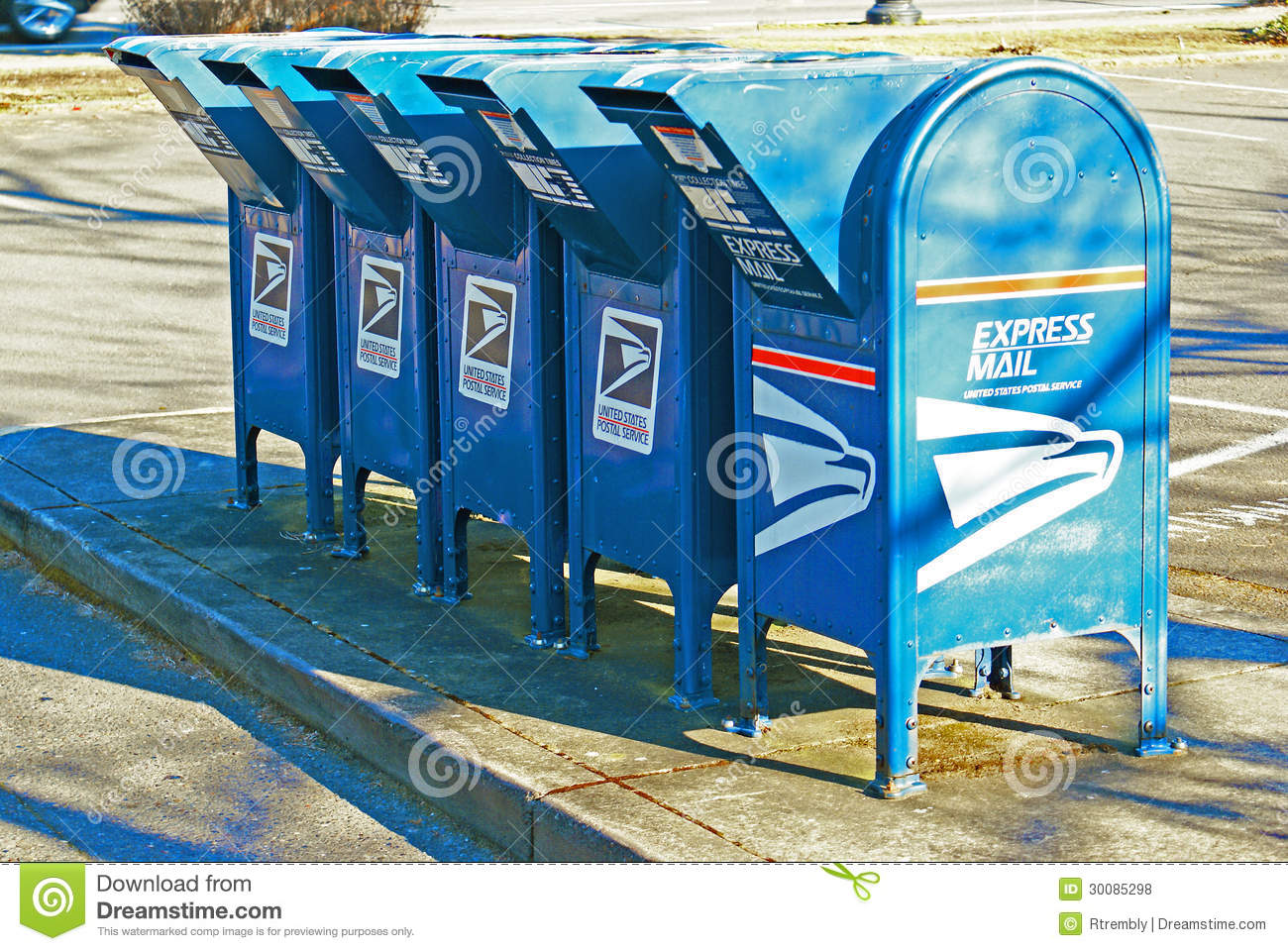 Row of US mail drop boxes